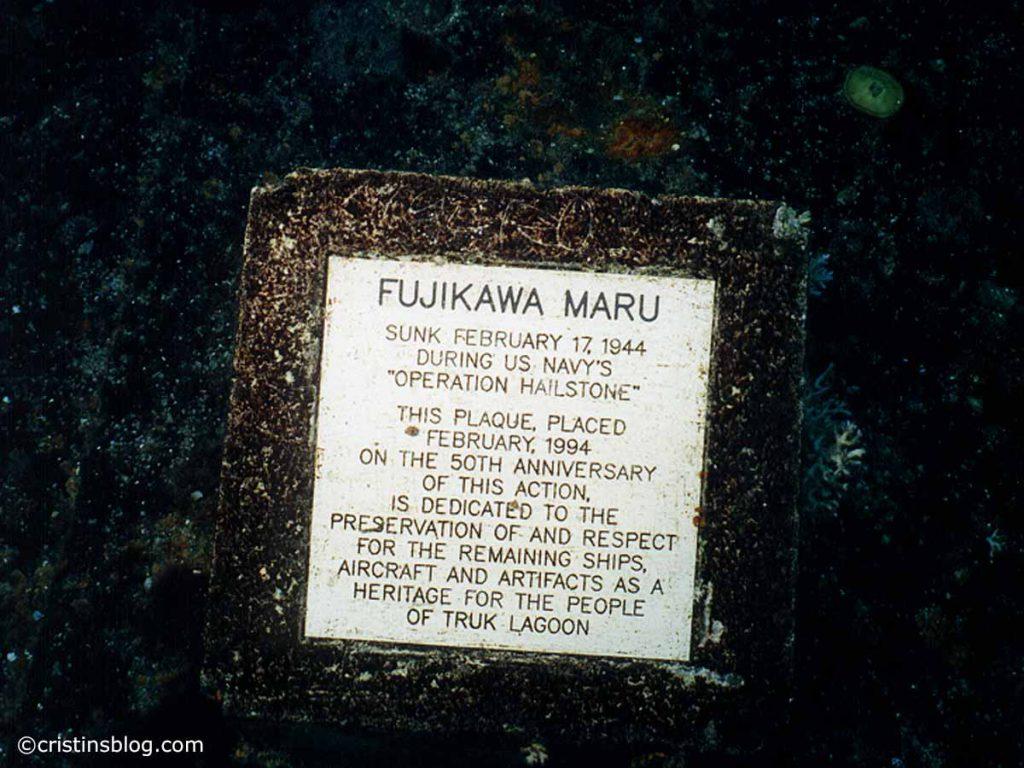 Chuuk Fujikawa Maru Plaque