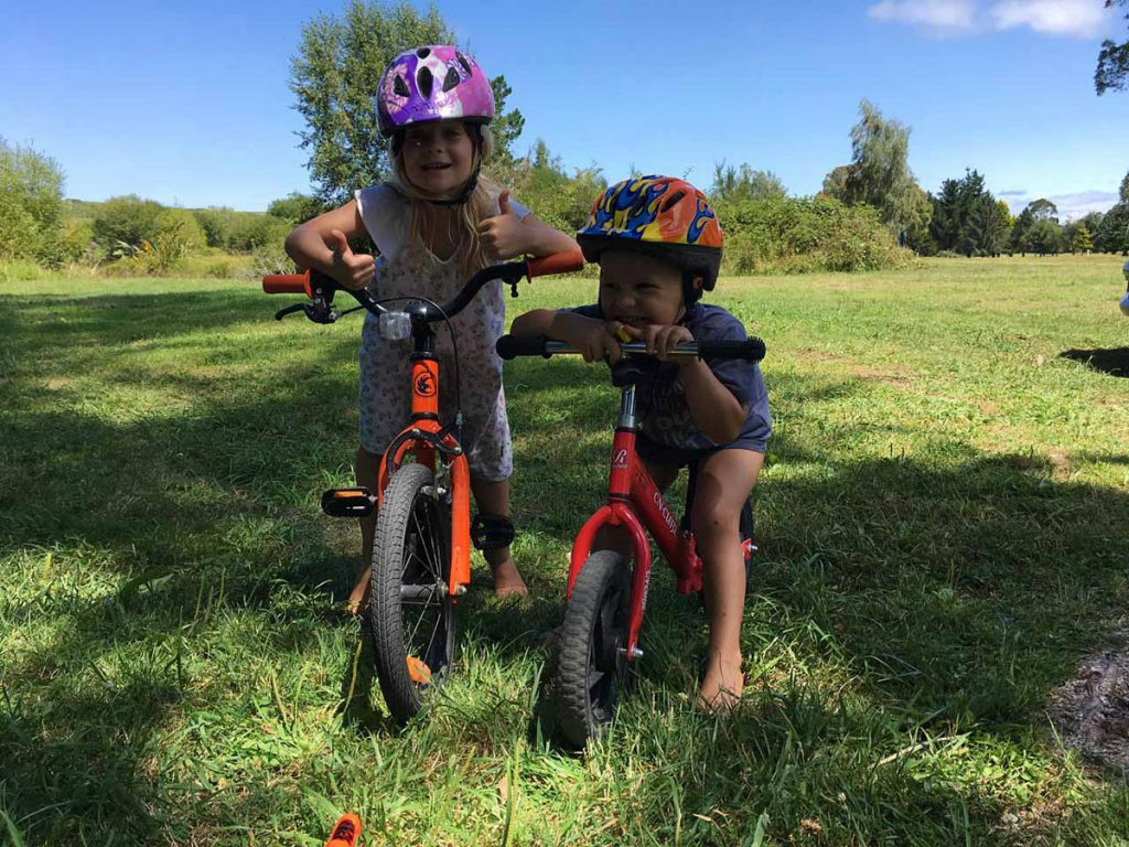 Kids biking in Mangakino New Zealand