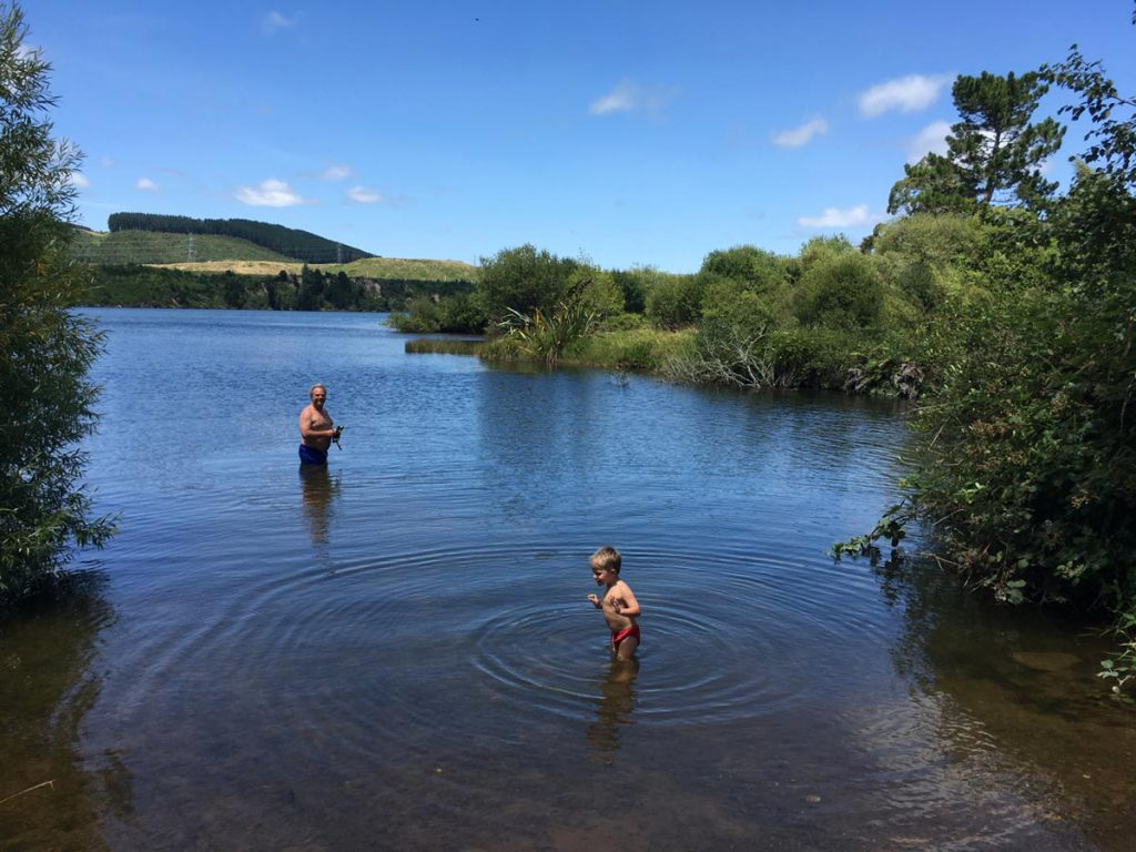 Swimming at Lake Maraetai in Mangakino